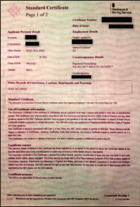 Example of a Standard DBS Check Certificate